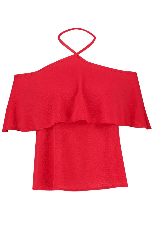 descubiertos hombros con Top con rojo de Plus y vuelo capa volante Yxd80wqYr