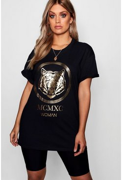 Womens Black Plus Tiger Foil Print T-Shirt