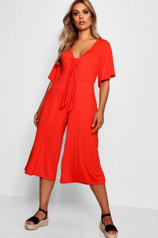 Plus Tie Front Angel Sleeve Jumpsuit