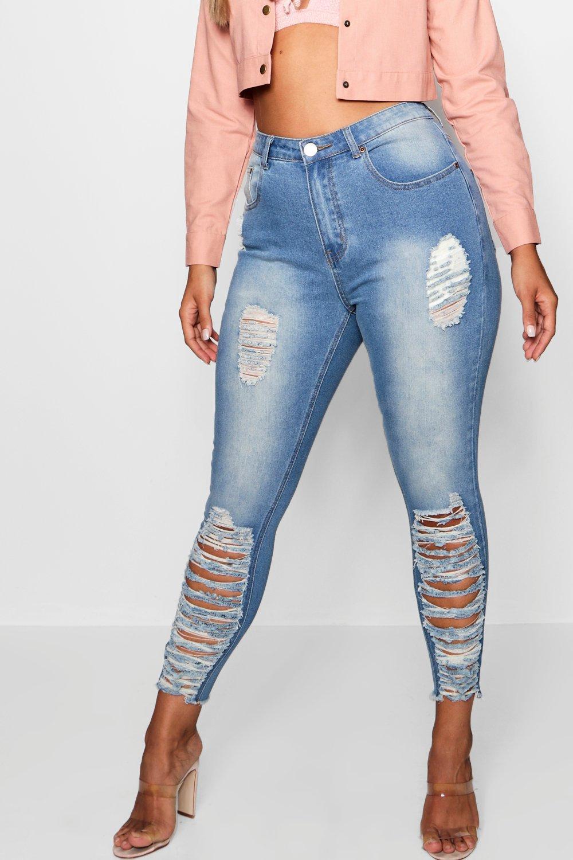 elásticos Plus rasgados skinny azul medio Jeans A0Twq0