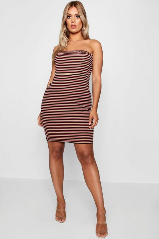 Plus Ribbed Stripe Bandeau Bodycon Dress