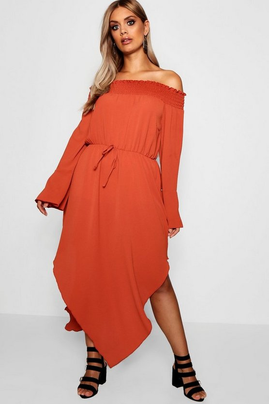 Plus Esme Sheered off The Shoulder Skater Dress