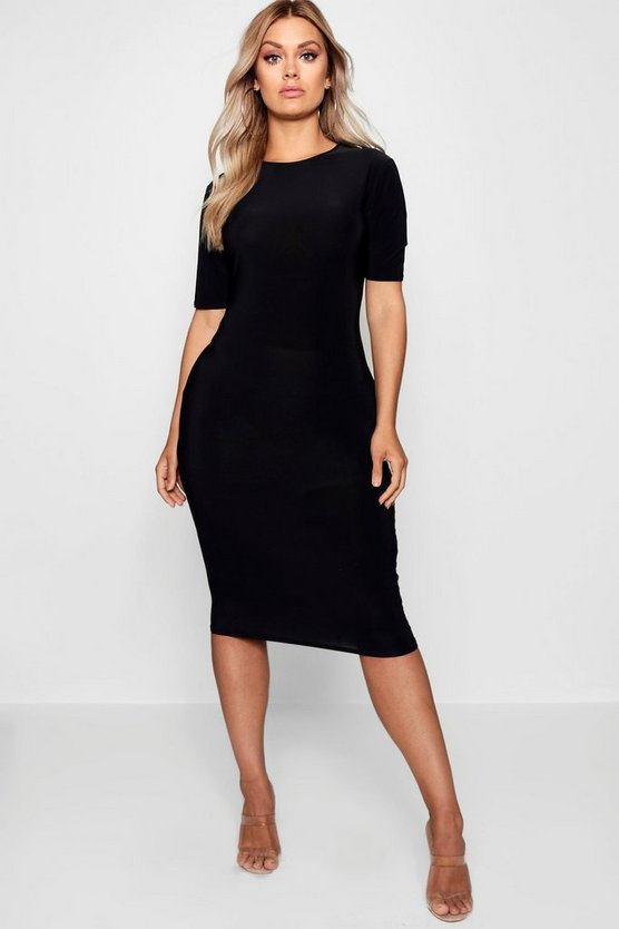 Womens Black Plus Slinky Short Sleeve Midi Bodycon Dress