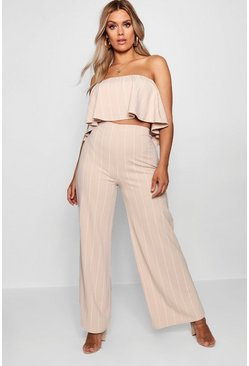 Womens Nude Plus Striped Crop + Culotte Co-ord