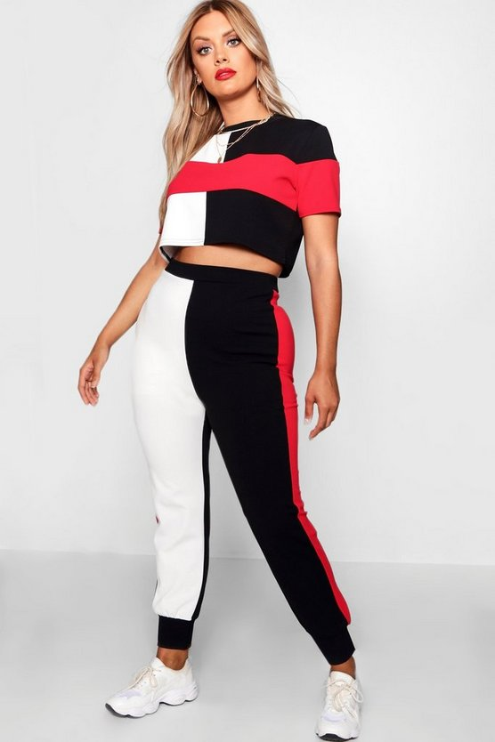 Womens Black Plus Sports Stripe Co-ord Set
