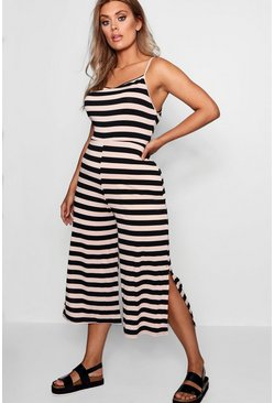 Womens Nude Plus Striped Culotte Jumpsuit
