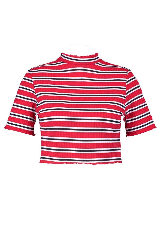 rojo ondulado rayas Plus dobladillo a corto Top con O6qgBB
