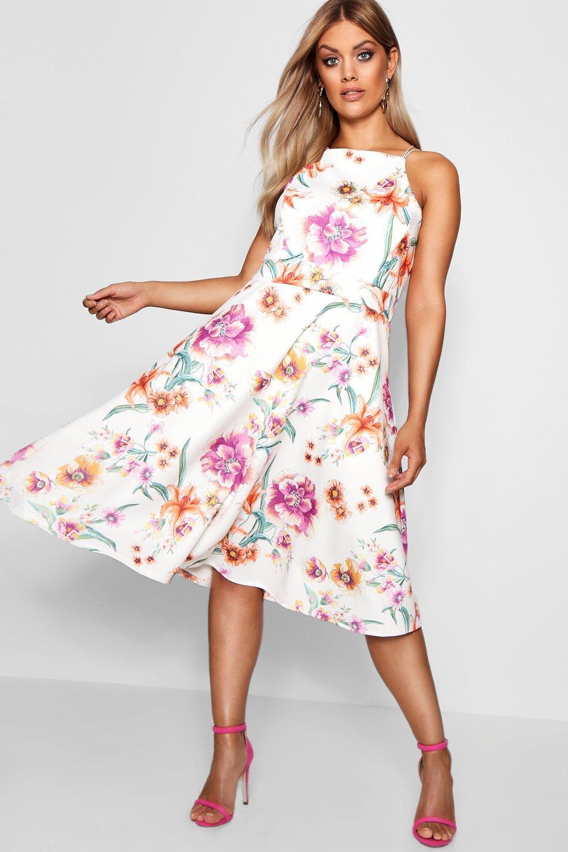 c8b9fef914aa Plus Scuba Floral Strappy Midi Skater Dress | Boohoo
