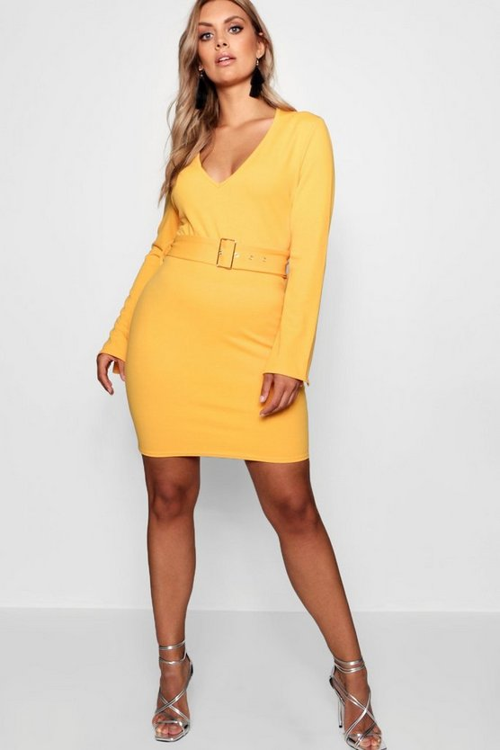 Plus Belted Plunge Neck Mini Dress