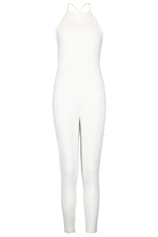 y cuello con espalda blanco detalle cruzado Mono alto en Petite wA4H46