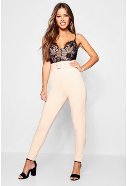 Womens Blush Petite Belted High Waisted Cigarette Pants