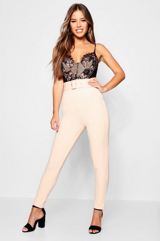 Petite Belted High Waisted Cigarette Pants