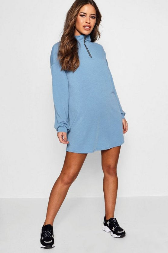 Petite Zip Front Sweat Dress
