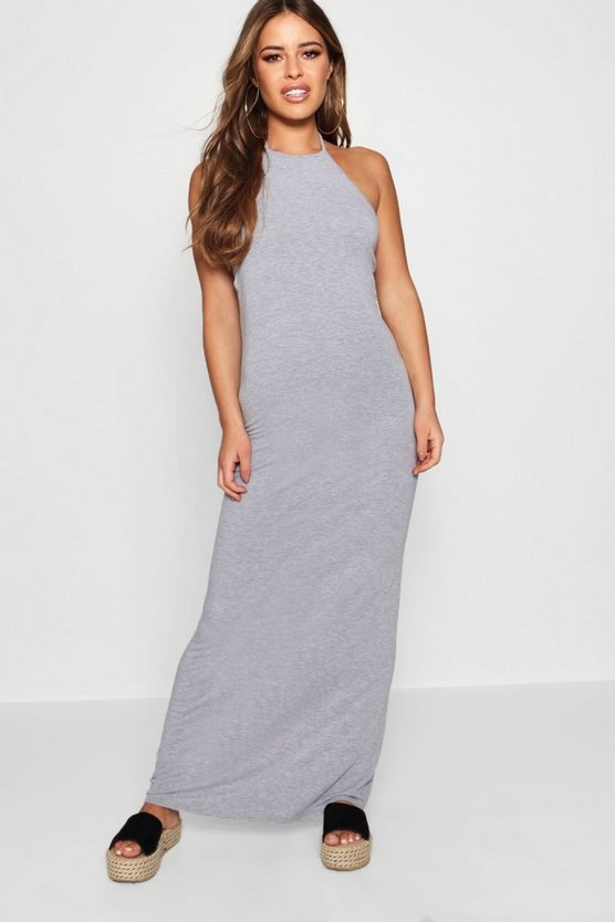 Petite  Basic 90's Neck Maxi Dress