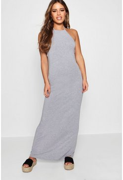 Petite maxi abito con collo Basic 90, Grey, Femmina