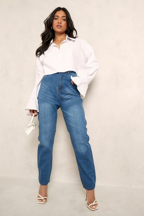 Womens Mid blue Petite High Rise Mom Jeans