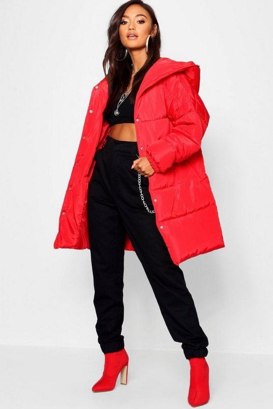 Womens Red Petite Hooded Dip Back Padded Coat