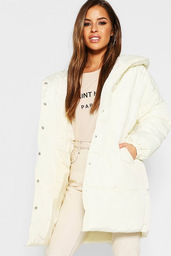Cream Petite Hooded Dip Back Padded Coat
