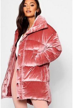 Womens Blush Petite Velvet Padded Coat