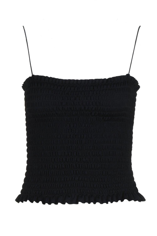 con fruncida negro cuadrado cuello Petite Camisola 5agqq