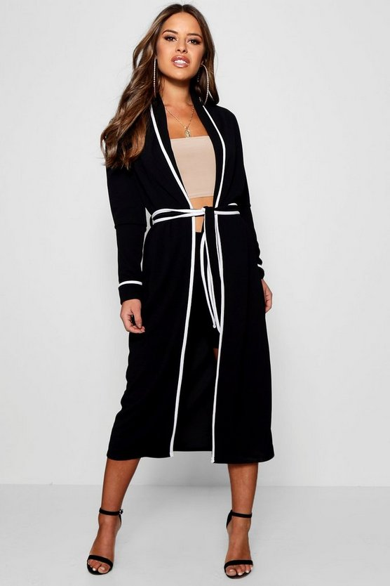 Womens Black Petite Piping Detail Belted Duster