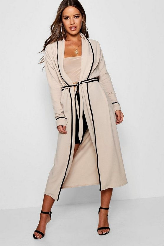 Petite Piping Detail Belted Duster