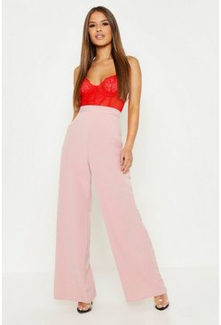 Womens Blush Petite High Waisted Woven Wide Leg Pants
