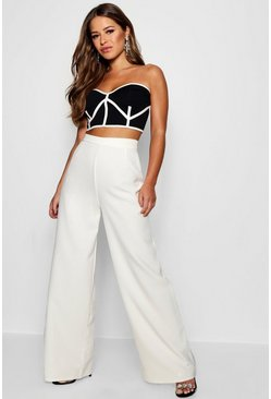 Womens White Petite  High Waisted Woven Wide Leg Trousers