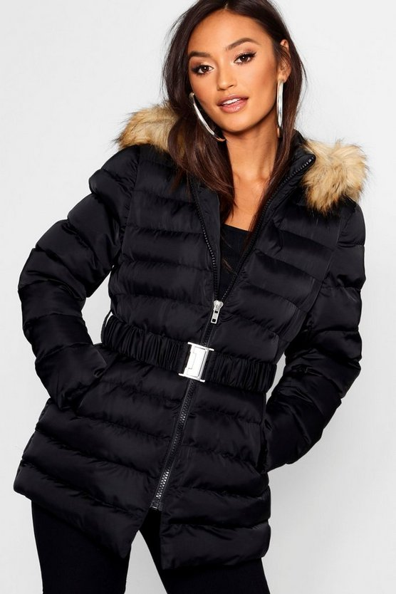 Womens Black Petite Belted Longline Padded Coat