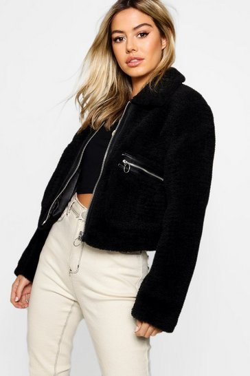 Womens Black Petite Teddy Faux Fur Trucker Coat