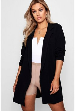 Black Plus  Oversized Tie Blazer