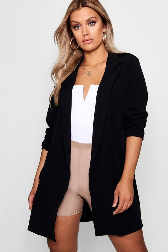 Womens Black Plus  Oversized Tie Blazer