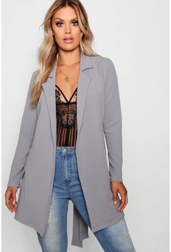 Womens Grey Plus  Oversized Tie Blazer