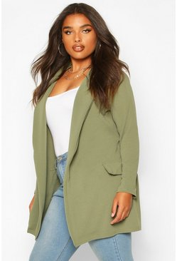 Womens Khaki Plus  Oversized Tie Blazer