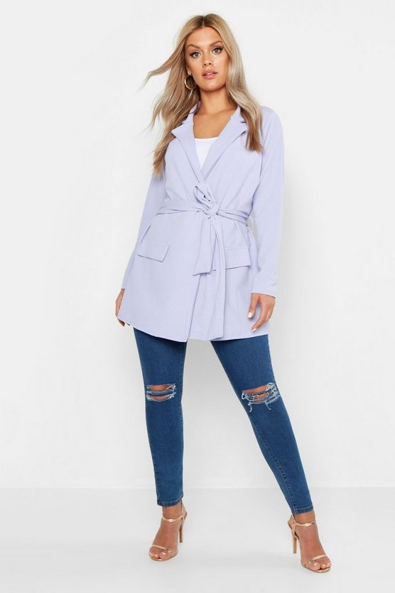 Womens Lilac Plus  Oversized Tie Blazer