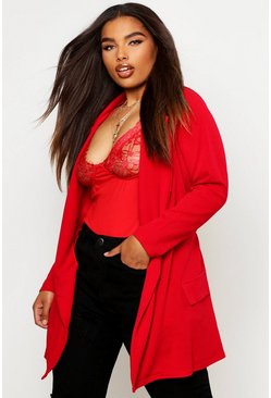 Womens Red Plus  Oversized Tie Blazer