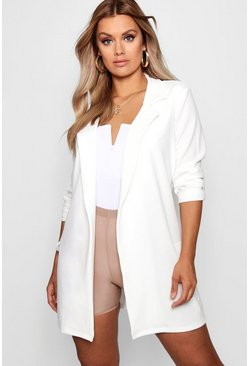 Womens White Plus  Oversized Tie Blazer