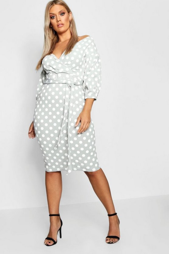 Womens Sage Plus Spot Off Shoulder Wrap Midi Dress