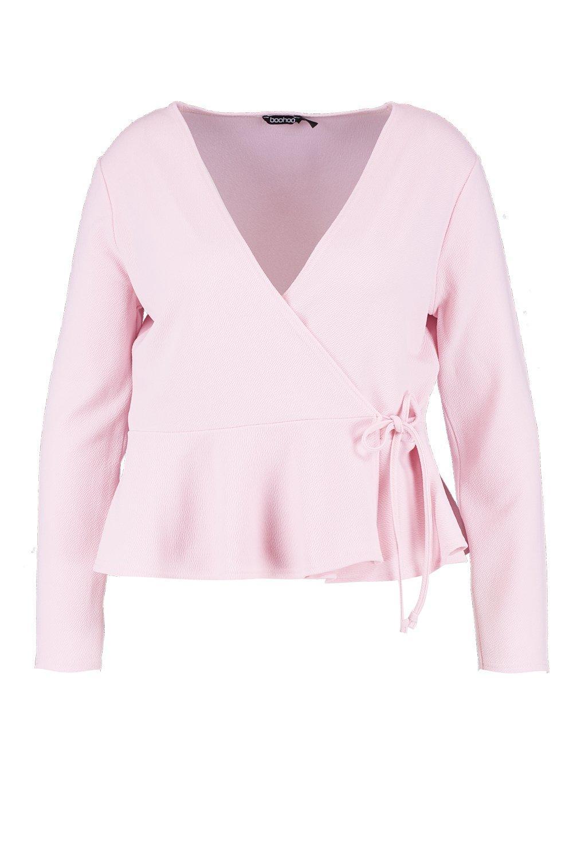 peplum bajo con cruzado Blazer pink Plus baby z0gvF4q