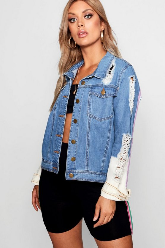 Womens Mid blue Plus Sports Stripe Denim Jacket