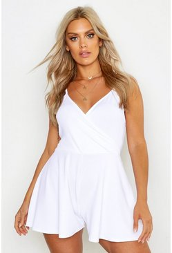 White Plus Wrap Front Flippy Romper