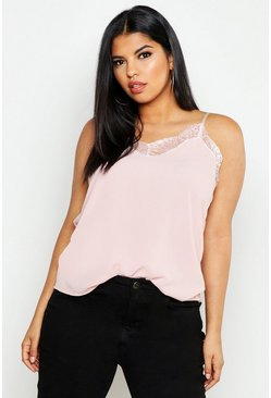 Blush Plus Lace Detail Woven Cami