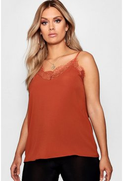 Womens Tobacco Plus Lace Detail Woven Cami