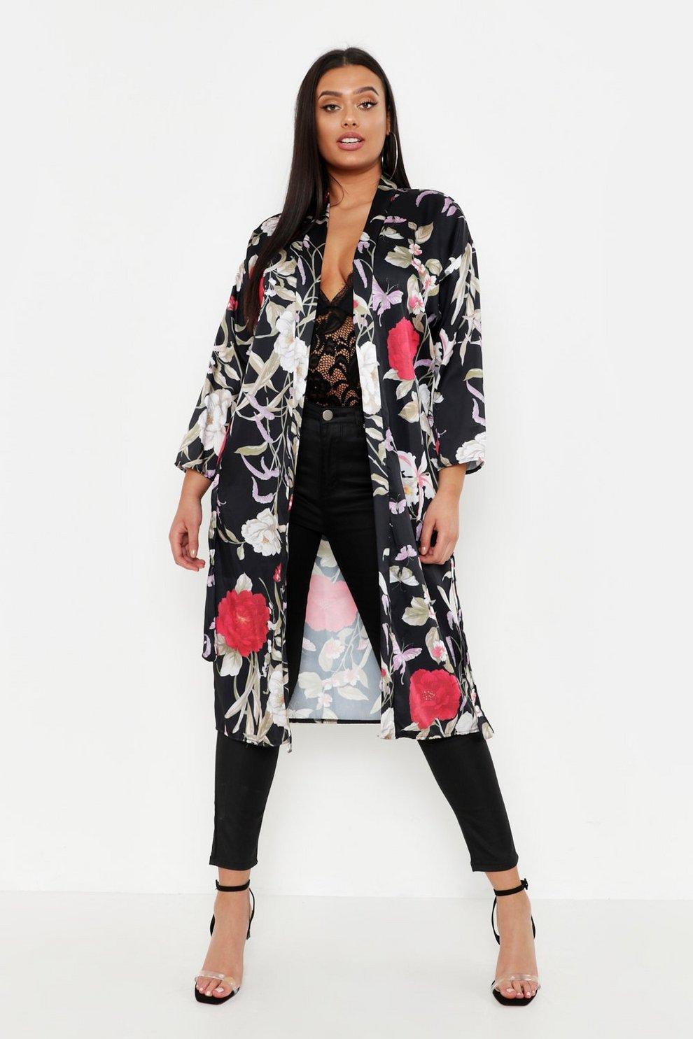 57e13bee8a07 Plus Floral Kimono   Boohoo