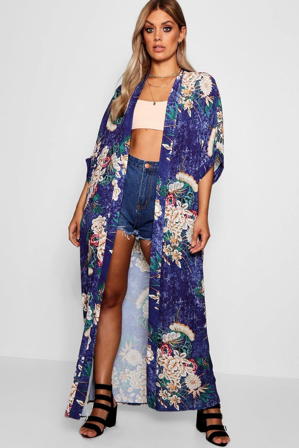 6aad6758a828 Plus Floral Maxi Kimono   Boohoo