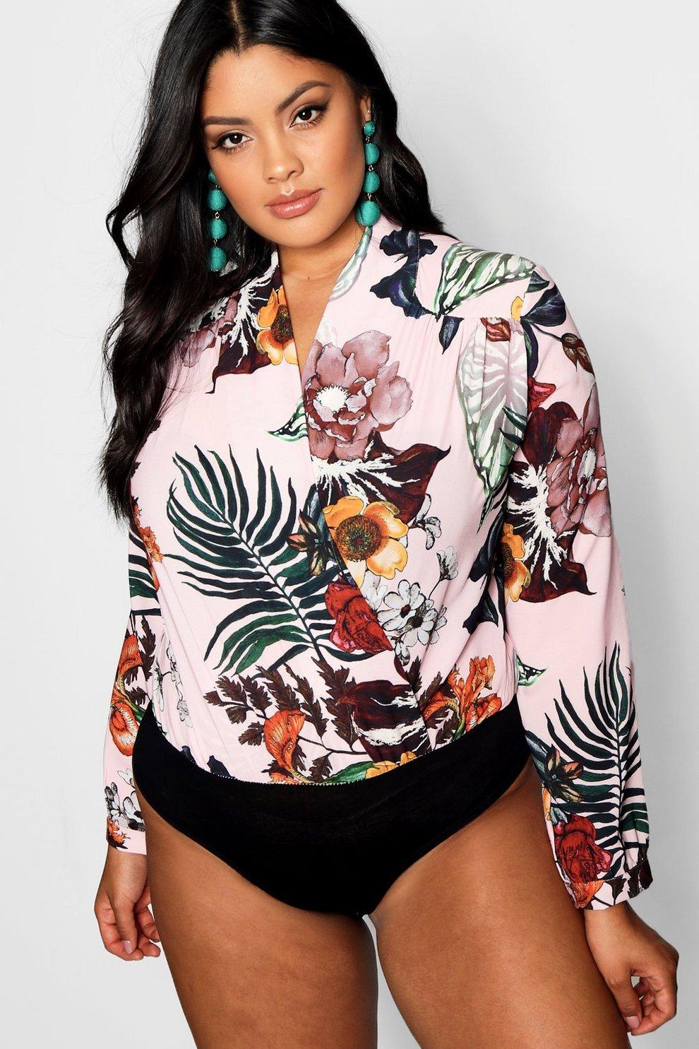 c347359c216d Plus Floral Woven Wrap Bodysuit | Boohoo