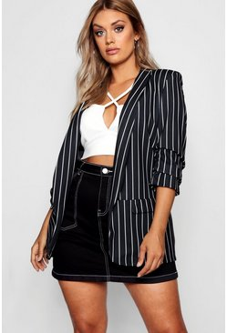 Plus Blazer a righe, Nero, Donna