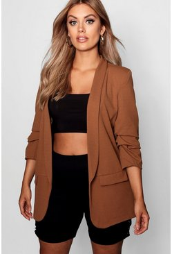 Tobacco Plus Ruched Sleeve Blazer