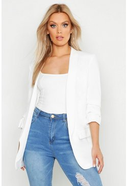 White Plus Ruched Sleeve Blazer