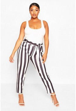 Womens Black Plus Striped Culotte